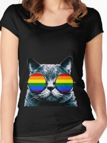 Gay Cat with Sunglasses Women's Fitted Scoop T-Shirt
