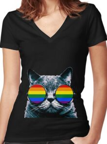 Gay Cat with Sunglasses Women's Fitted V-Neck T-Shirt