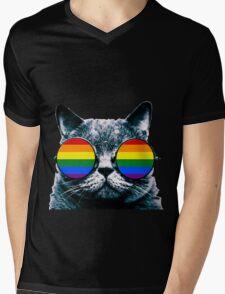 Gay Cat with Sunglasses Mens V-Neck T-Shirt