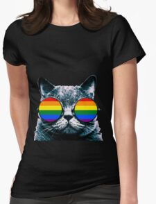 Gay Cat with Sunglasses Womens Fitted T-Shirt