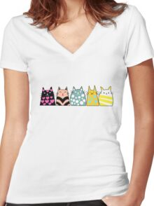 Cats Anime 6 Women's Fitted V-Neck T-Shirt