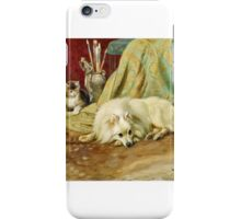 Wright Barker - Spitz Dog with Two Kittens beside an Artist's Brush Pot,  iPhone Case/Skin