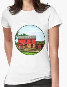 Red Barn with Fence Womens Fitted T-Shirt
