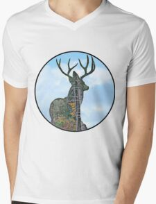 Deer and pine merge Mens V-Neck T-Shirt