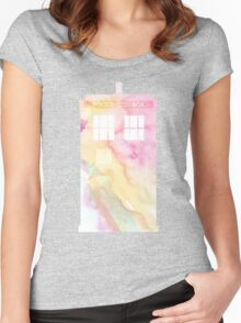 Watercolour Tardis Women's Fitted Scoop T-Shirt