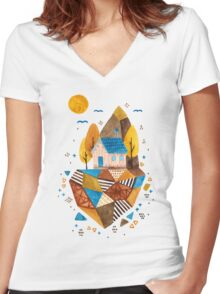 Homey Rock Women's Fitted V-Neck T-Shirt