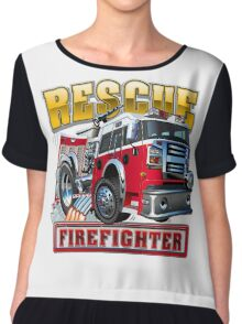 Cartoon Fire Truck Chiffon Top