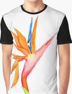Handpainted Birds of Paradise Flower Graphic T-Shirt