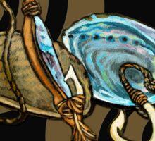 Abalone with Historic Maori Fishing Hooks Sticker