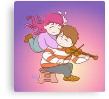 Couple love music and violin Canvas Print