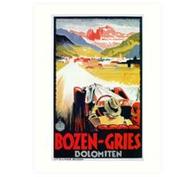 Vintage Italian travel, classic convertible car, Bozen-Gries Art Print