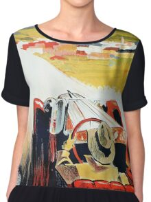Vintage Italian travel, classic convertible car, Bozen-Gries Chiffon Top