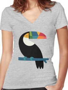 Rainbow Toucan Women's Fitted V-Neck T-Shirt