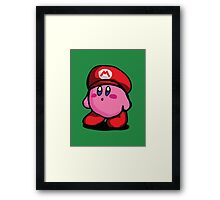 Kirby With Mario Hat Fanart Framed Print