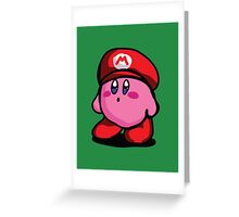 Kirby With Mario Hat Fanart Greeting Card