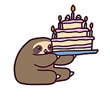 Birthday cake Sloth Photographic Print