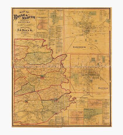 Map of Boyle and Mercer Counties Kentucky (1876) Photographic Print