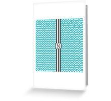 N Turquoise Chevron II Greeting Card