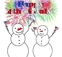 Snowmen Celebrate Independence - 4th of July by Gravityx9