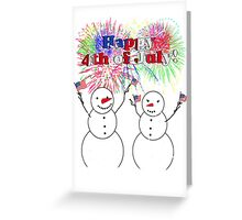 Snowmen Celebrate Independence - 4th of July Greeting Card