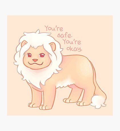 """""""You're Safe,  You're Okay"""" Pastel Lion Photographic Print"""