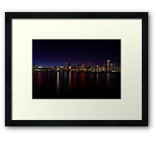 Chicago Skyline at Night Framed Print