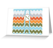 N Chevron Greeting Card