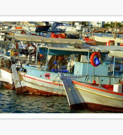 Greek boats at the marina Sticker