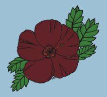 maroon hibiscus One Piece - Short Sleeve