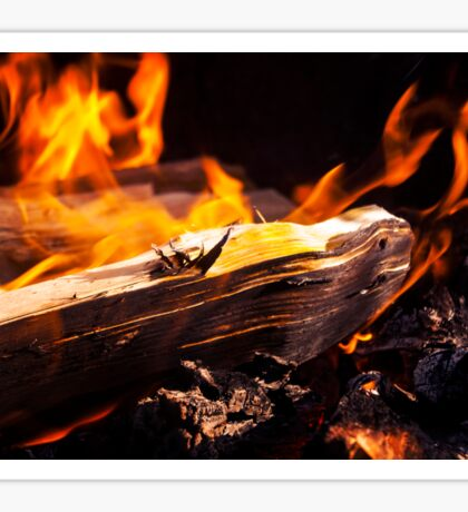 Burning Fire With Wood Sticker