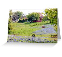 Red Barn on Bluebonnet Hill Greeting Card