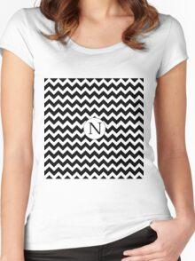 N Black Chevron Women's Fitted Scoop T-Shirt