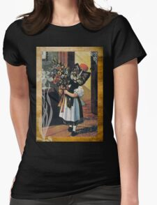Victorian Cat Girl Holding Flowers Womens Fitted T-Shirt