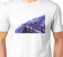 Blue Fractal Space Ship Unisex T-Shirt