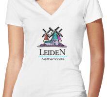 Leiden, The Netherlands Women's Fitted V-Neck T-Shirt