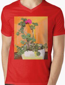 One Pink Blossom Mens V-Neck T-Shirt
