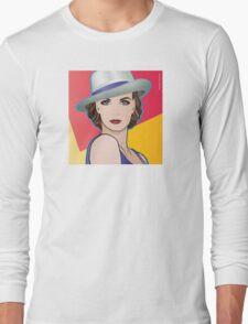 Pop Art Girl Illustration of Ingrid Long Sleeve T-Shirt