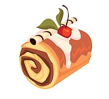 Chocolate and Cherry Dessert Roll Photographic Print