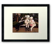 Taiwan - Taipei - goofy bench art Framed Print