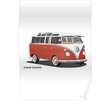 21 Window VW Bus Red/White  Poster