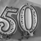 Happy 50th Birthday Black and White by Pamela Burger
