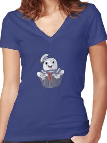 Stay Puft Cupcake Women's Fitted V-Neck T-Shirt