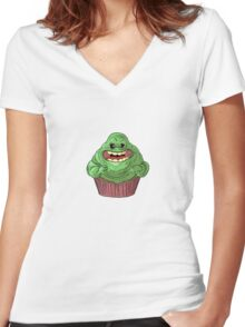 Slimer Cupcake Women's Fitted V-Neck T-Shirt