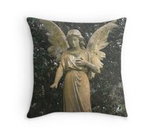 STONE ANGEL CEMETERY STATUE  Throw Pillow
