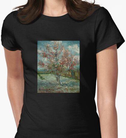 'Pink Peach Trees Souvenir de Mauve' by Vincent Van Gogh (Reproduction) Womens Fitted T-Shirt