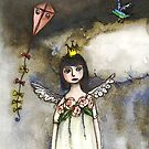 guardian angel, watercolor , angel clouds and kite by Mary Taylor