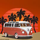 21 Window VW Bus Red Surfboard on the Beach by Frank Schuster