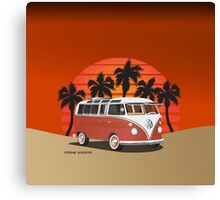 21 Window VW Bus Red Surfboard on the Beach Canvas Print