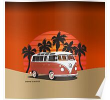 21 Window VW Bus Red Surfboard on the Beach Poster