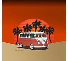 21 Window VW Bus Red Surfboard on the Beach Photographic Print